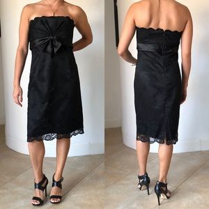 WHBM Lace Overlay Strapless Formal Black Dress